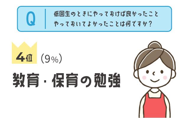 4位:教育・保育の勉強(9%)