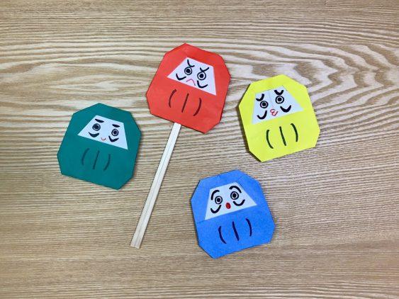 ≪ ペープサート ≫保育実習におすすめ♪折り紙で作る『だるまさん』